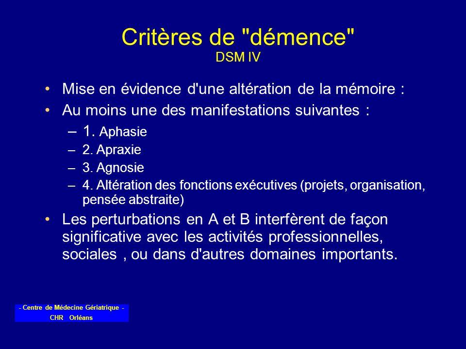 - Centre de Médecine Gériatrique - CHR Orléans Critères de