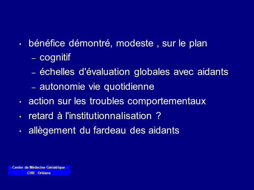 - Centre de Médecine Gériatrique - CHR Orléans bénéfice démontré, modeste, sur le plan – cognitif – échelles d'évaluation globales avec aidants – auto