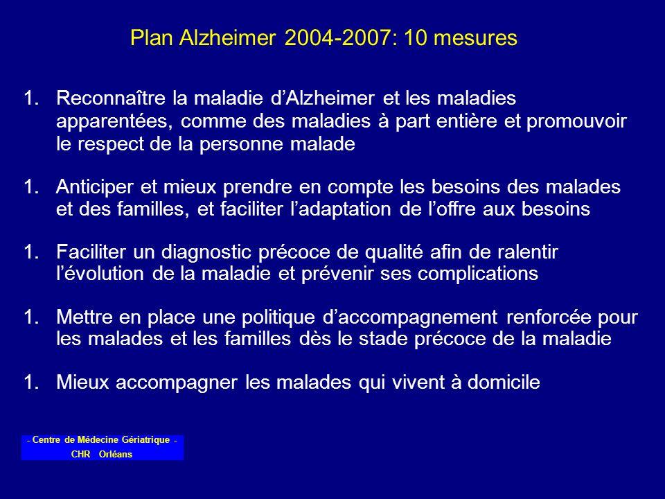 - Centre de Médecine Gériatrique - CHR Orléans 1.Reconnaître la maladie dAlzheimer et les maladies apparentées, comme des maladies à part entière et p
