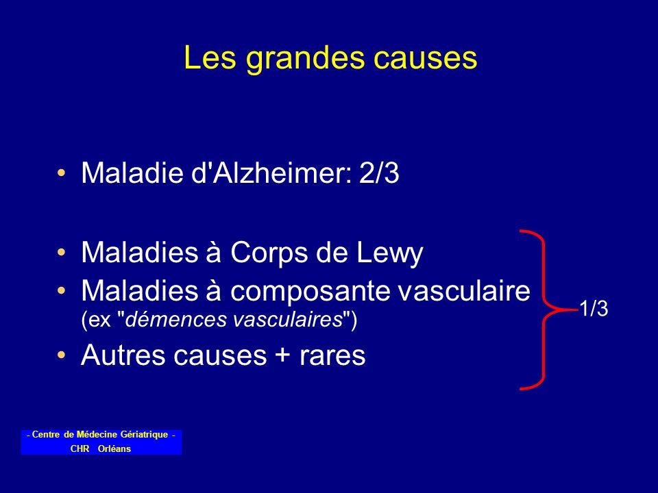 - Centre de Médecine Gériatrique - CHR Orléans Les grandes causes Maladie d'Alzheimer: 2/3 Maladies à Corps de Lewy Maladies à composante vasculaire (