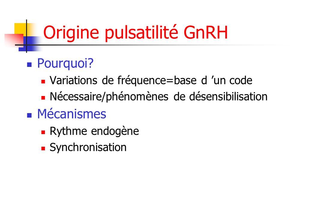 Origine pulsatilité GnRH Pourquoi? Variations de fréquence=base d un code Nécessaire/phénomènes de désensibilisation Mécanismes Rythme endogène Synchr