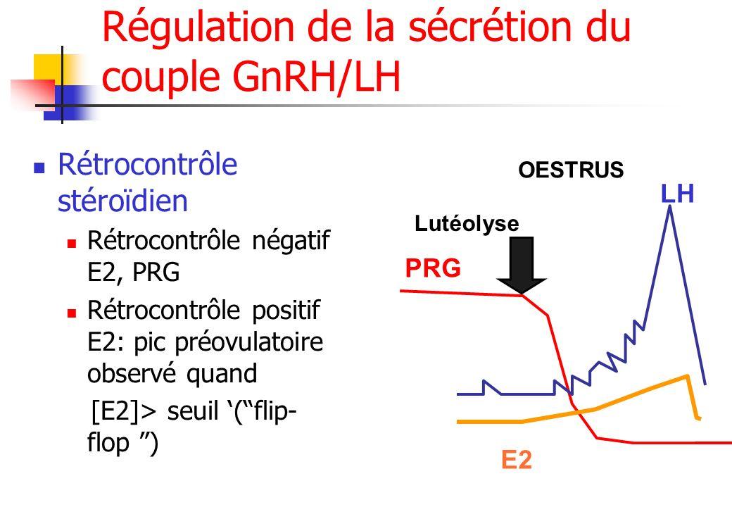 Régulation de la sécrétion du couple GnRH/LH Rétrocontrôle stéroïdien Rétrocontrôle négatif E2, PRG Rétrocontrôle positif E2: pic préovulatoire observ