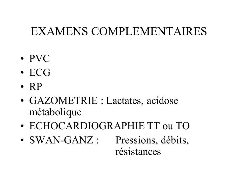 EXAMENS COMPLEMENTAIRES PVC ECG RP GAZOMETRIE : Lactates, acidose métabolique ECHOCARDIOGRAPHIE TT ou TO SWAN-GANZ : Pressions, débits, résistances