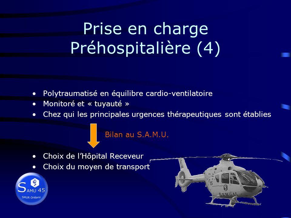 Prise en charge Préhospitalière (3) Conditionnement VVP, I/Vm, SG, DP, pas de SU immobilisation (rachis++, fractures) monitorage (scope, PNI, SpO 2, r