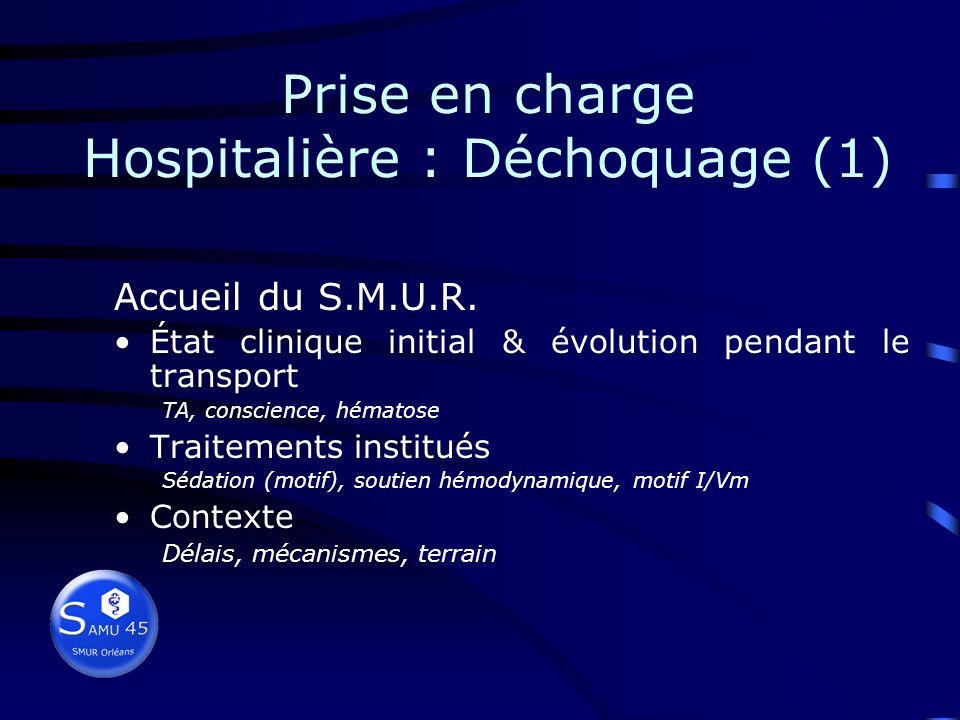 Prise en charge Préhospitalière (4) Polytraumatisé en équilibre cardio-ventilatoire Monitoré et « tuyauté » Chez qui les principales urgences thérapeu