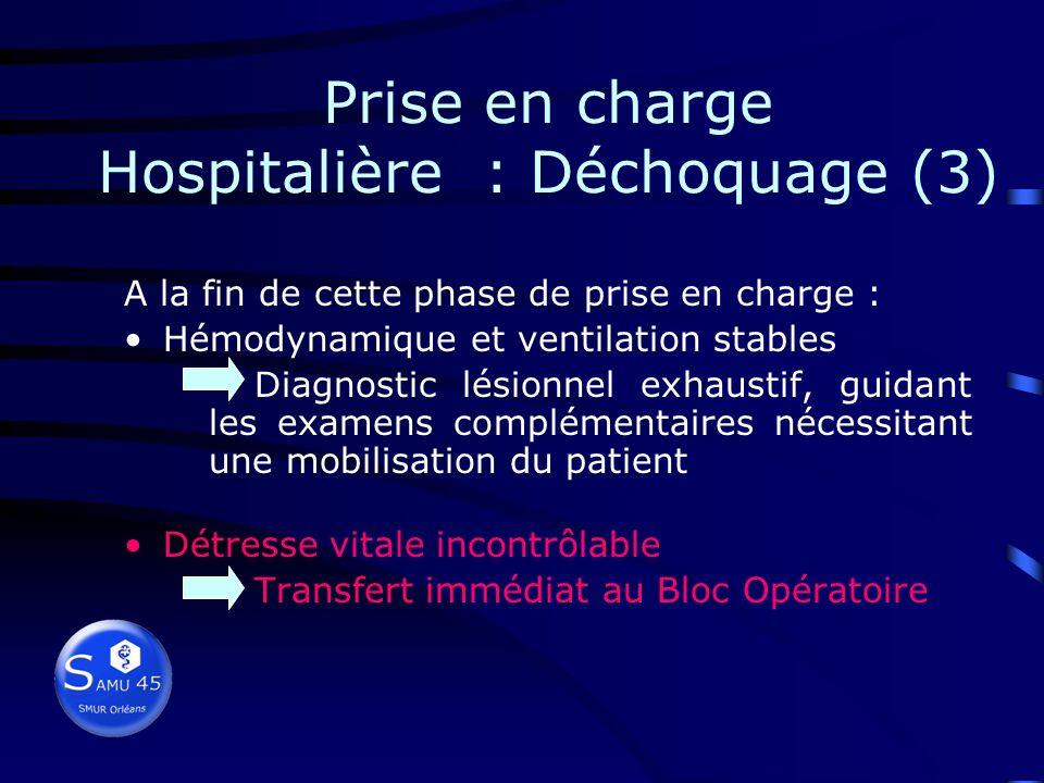 Prise en charge Hospitalière : Déchoquage (2) Contrôle des fonctions vitales Vérifier état ventilatoire et état hémodynamique Vérifier tuyaux et machi