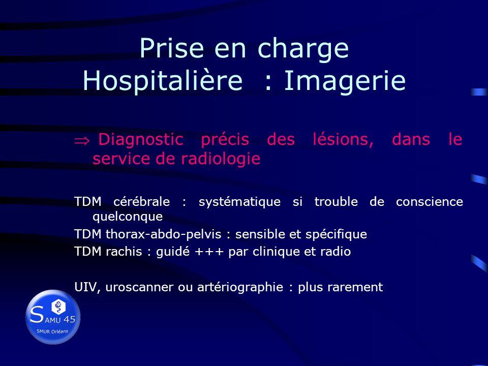 Prise en charge Hospitalière : Déchoquage (3) A la fin de cette phase de prise en charge : Hémodynamique et ventilation stables Diagnostic lésionnel e