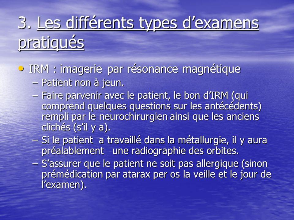 3. Les différents types dexamens pratiqués IRM : imagerie par résonance magnétique IRM : imagerie par résonance magnétique –Patient non à jeun. –Faire