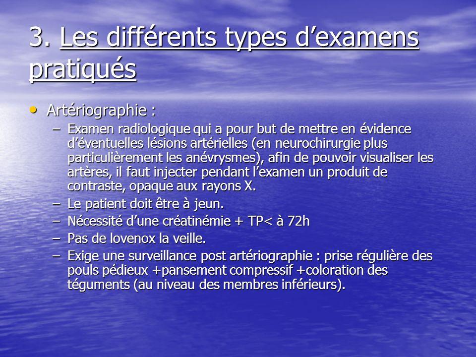 3. Les différents types dexamens pratiqués Artériographie : Artériographie : –Examen radiologique qui a pour but de mettre en évidence déventuelles lé