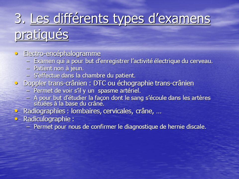 3. Les différents types dexamens pratiqués Electro-encéphalogramme Electro-encéphalogramme –Examen qui a pour but denregistrer lactivité électrique du