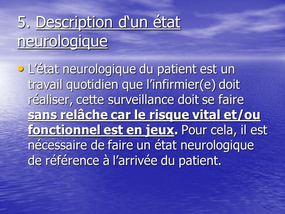 5. Description dun état neurologique Létat neurologique du patient est un travail quotidien que linfirmier(e) doit réaliser, cette surveillance doit s