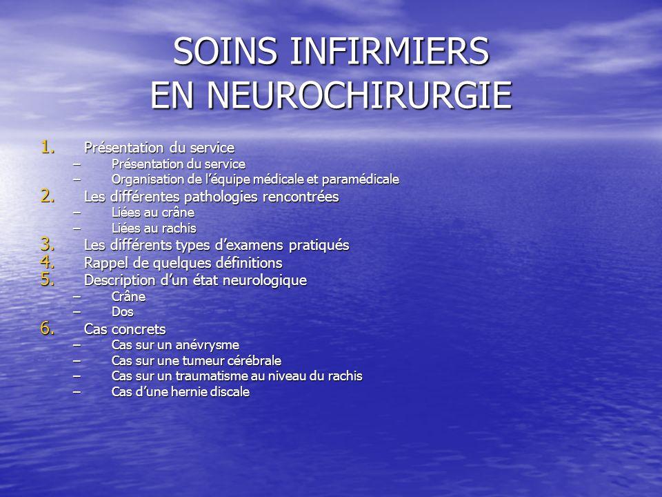 SOINS INFIRMIERS EN NEUROCHIRURGIE 1. Présentation du service –Présentation du service –Organisation de léquipe médicale et paramédicale 2. Les différ
