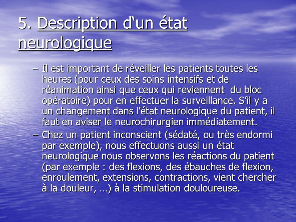 5. Description dun état neurologique –Il est important de réveiller les patients toutes les heures (pour ceux des soins intensifs et de réanimation ai