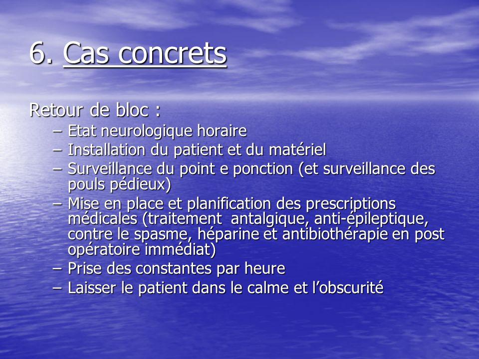 6. Cas concrets Retour de bloc : –Etat neurologique horaire –Installation du patient et du matériel –Surveillance du point e ponction (et surveillance