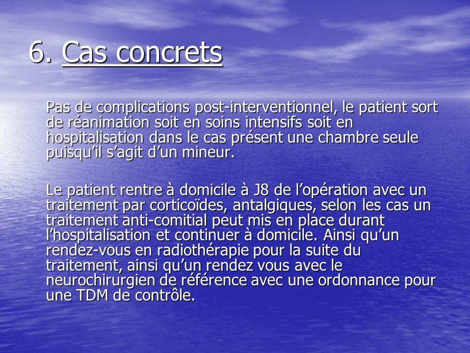 6. Cas concrets Pas de complications post-interventionnel, le patient sort de réanimation soit en soins intensifs soit en hospitalisation dans le cas