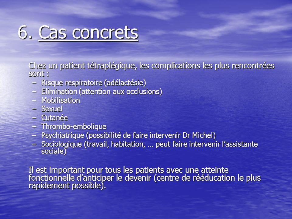 6. Cas concrets Chez un patient tétraplégique, les complications les plus rencontrées sont : –Risque respiratoire (adélactésie) –Elimination (attentio