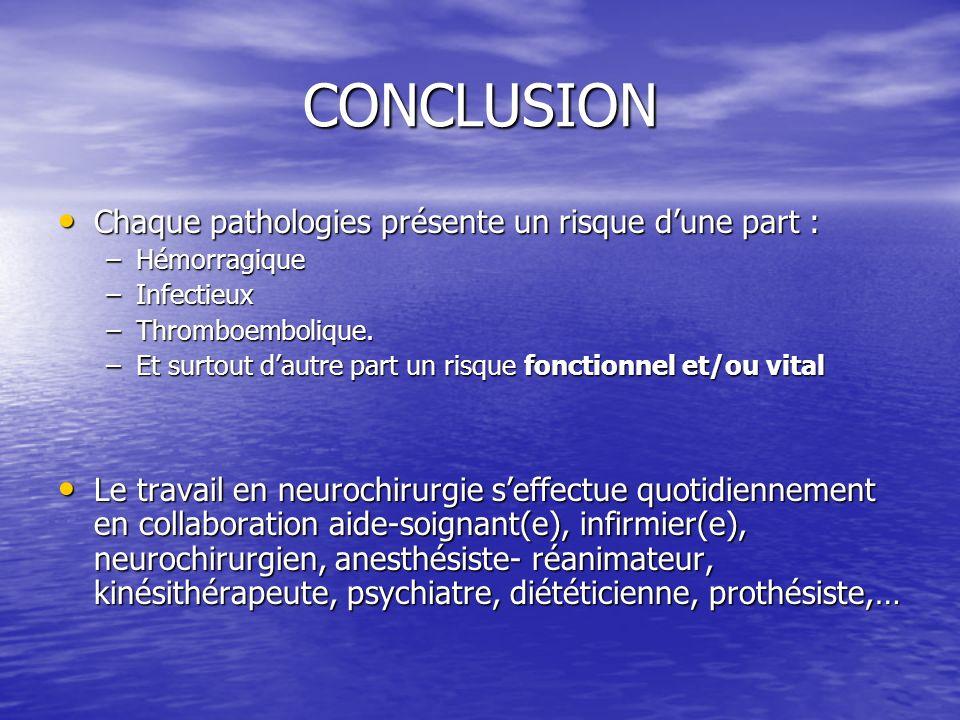 CONCLUSION Chaque pathologies présente un risque dune part : Chaque pathologies présente un risque dune part : –Hémorragique –Infectieux –Thromboembol