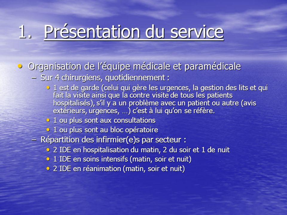 1.Présentation du service Organisation de léquipe médicale et paramédicale Organisation de léquipe médicale et paramédicale –Sur 4 chirurgiens, quotid