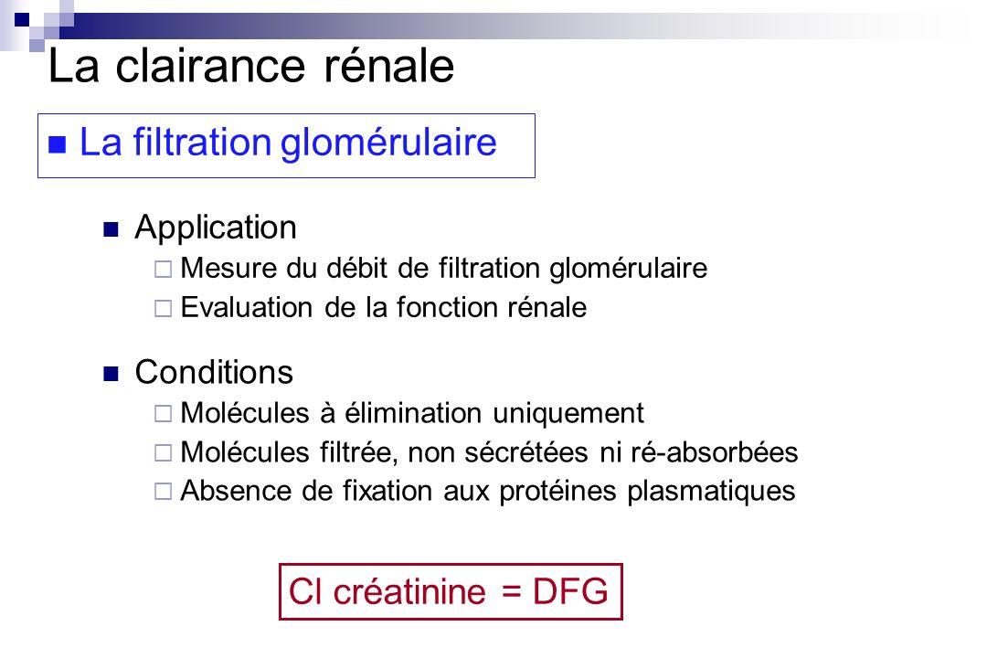 Cl créatinine = DFG La clairance rénale La filtration glomérulaire Application Mesure du débit de filtration glomérulaire Evaluation de la fonction ré