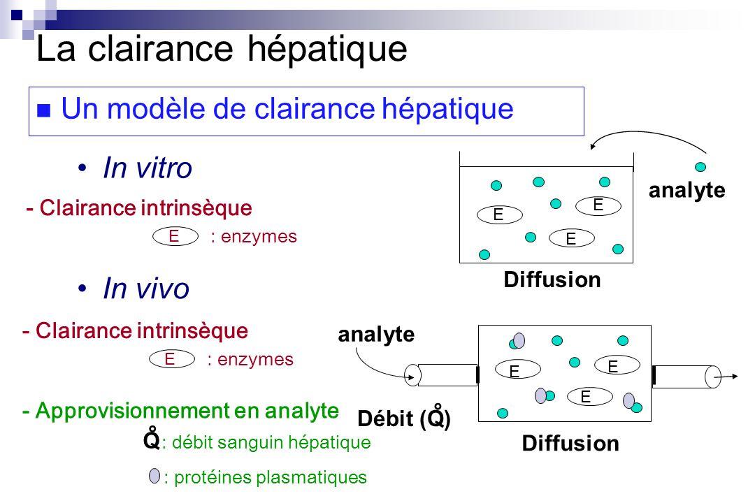 In vitro In vivo Diffusion analyte Débit (Q) ° E E E E : enzymes - Clairance intrinsèque Diffusion analyte E E E E : enzymes - Clairance intrinsèque -