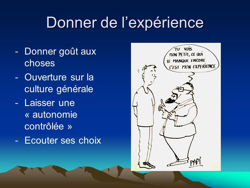 Donner de lexpérience -Donner goût aux choses -Ouverture sur la culture générale -Laisser une « autonomie contrôlée » -Ecouter ses choix