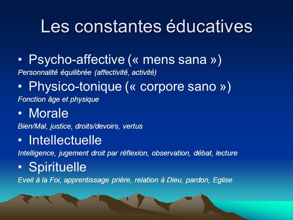 Les constantes éducatives Psycho-affective (« mens sana ») Personnalité équilibrée (affectivité, activité) Physico-tonique (« corpore sano ») Fonction