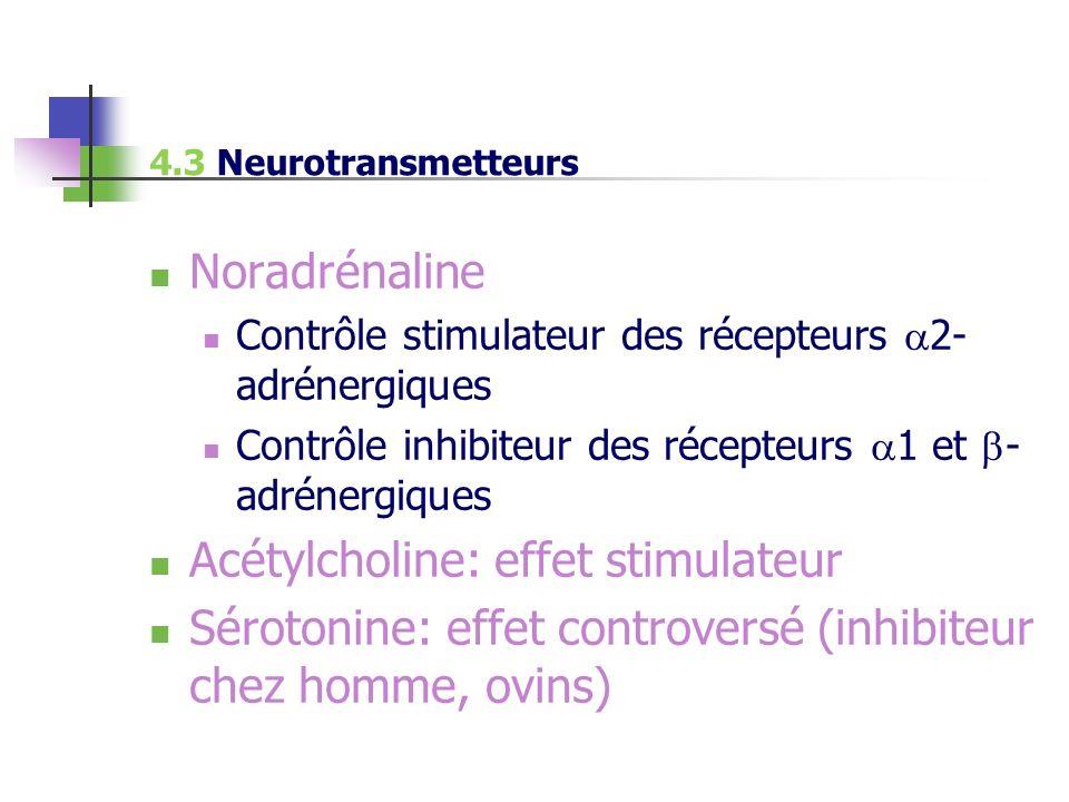 Noradrénaline Contrôle stimulateur des récepteurs 2- adrénergiques Contrôle inhibiteur des récepteurs 1 et - adrénergiques Acétylcholine: effet stimul