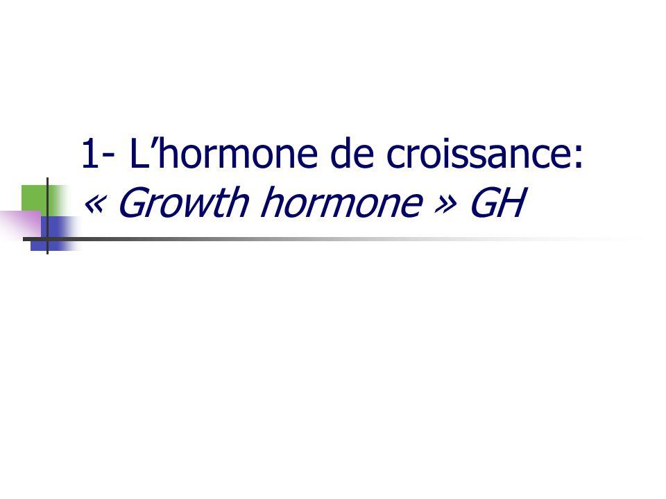 1.1 la GH: structure GH= protéine produite par cellules somato-mammotropes de lanté-hypophyse (30-45% cellules hypophysaires) Plusieurs formes de GH Homme: forme majoritaire 22Dda, variant 20kDa (10%) Vache: 4 variants GH libre : 50% GH liée à des GHBP (« GH binding proteins »): 50% (pygmées: défaut de GHBP) GH libre: monomères, dimères, oligomères Variabilité interspécifique importante: Dosages immunologiques /espèce Spécificité daction