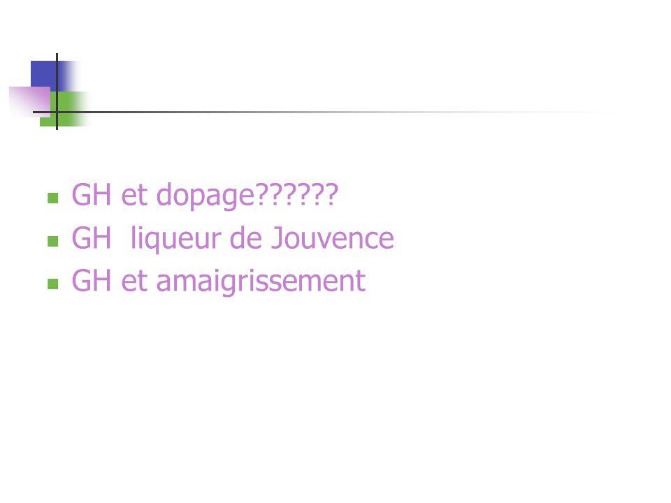 GH et dopage?????? GH liqueur de Jouvence GH et amaigrissement