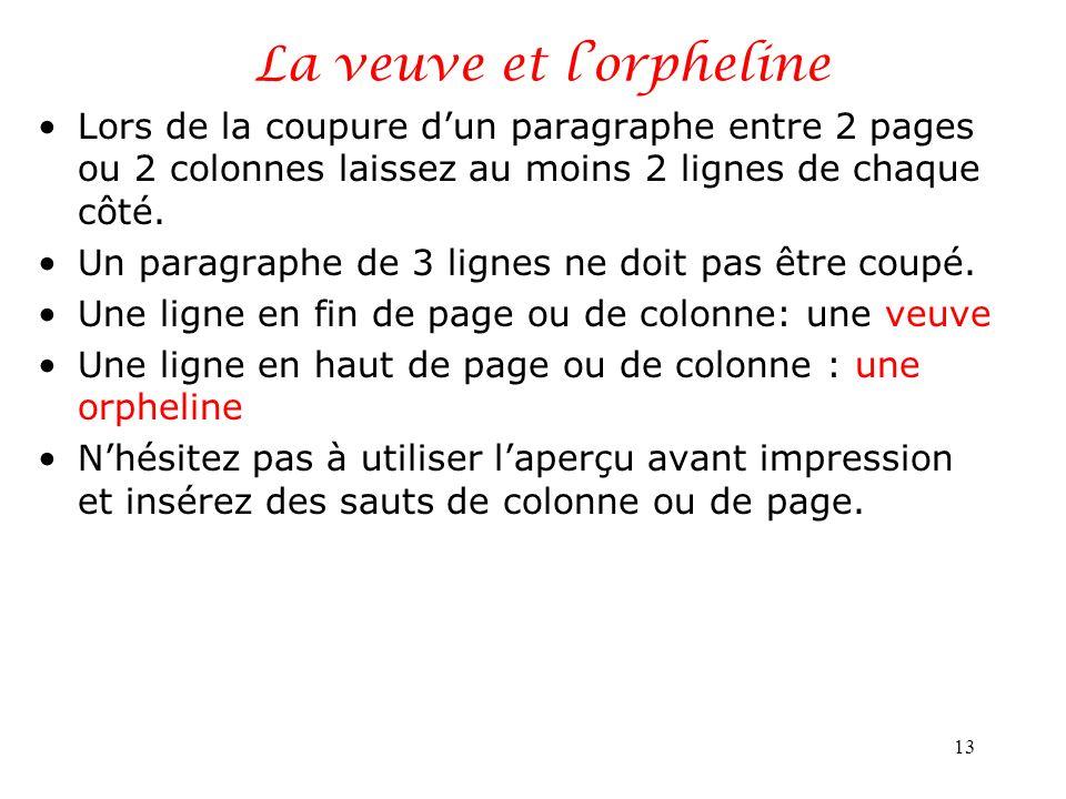 La veuve et lorpheline Lors de la coupure dun paragraphe entre 2 pages ou 2 colonnes laissez au moins 2 lignes de chaque côté. Un paragraphe de 3 lign