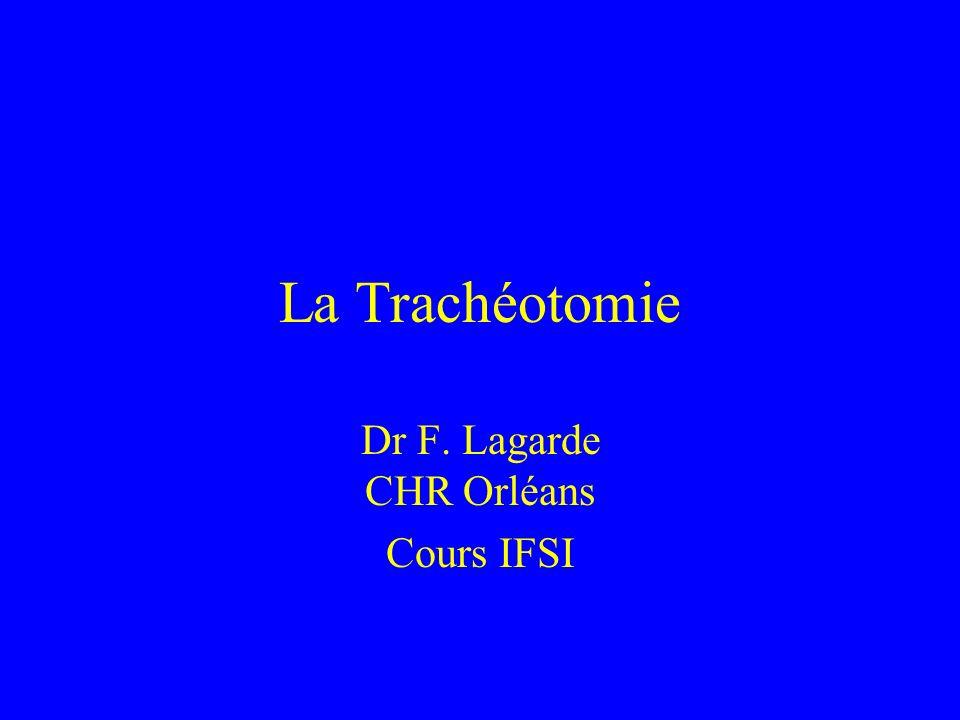 La Trachéotomie Dr F. Lagarde CHR Orléans Cours IFSI