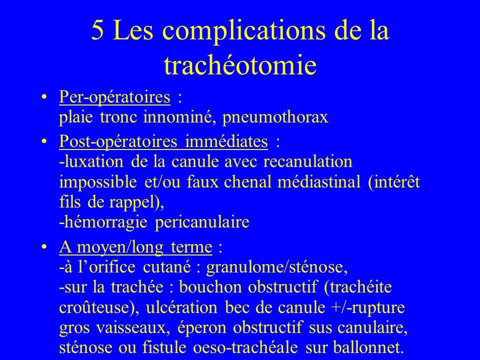 5 Les complications de la trachéotomie Per-opératoires : plaie tronc innominé, pneumothorax Post-opératoires immédiates : -luxation de la canule avec