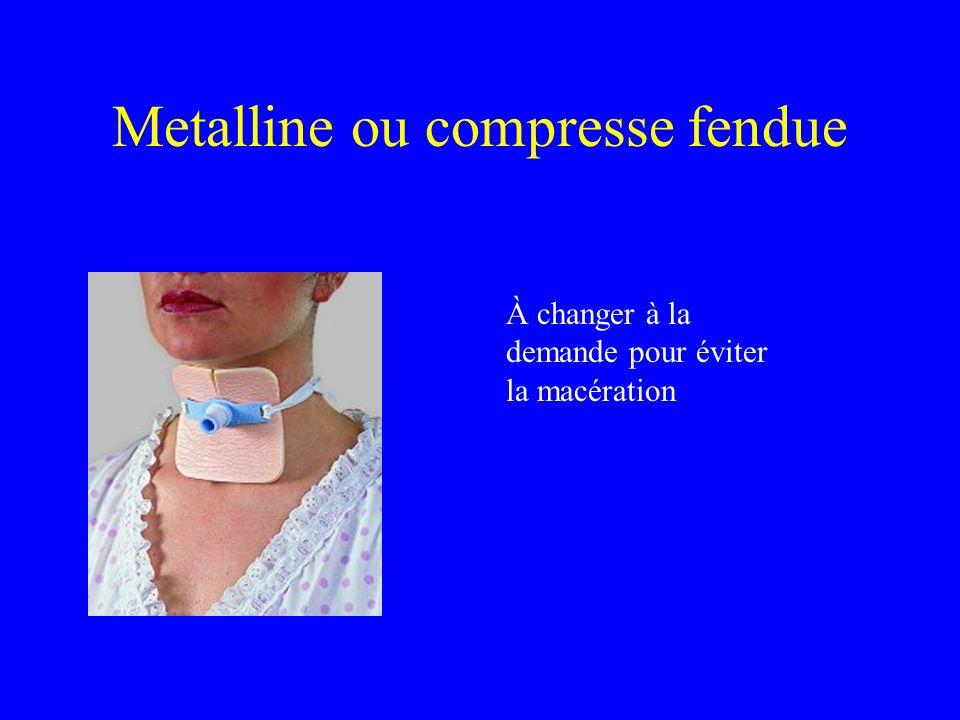 Metalline ou compresse fendue À changer à la demande pour éviter la macération