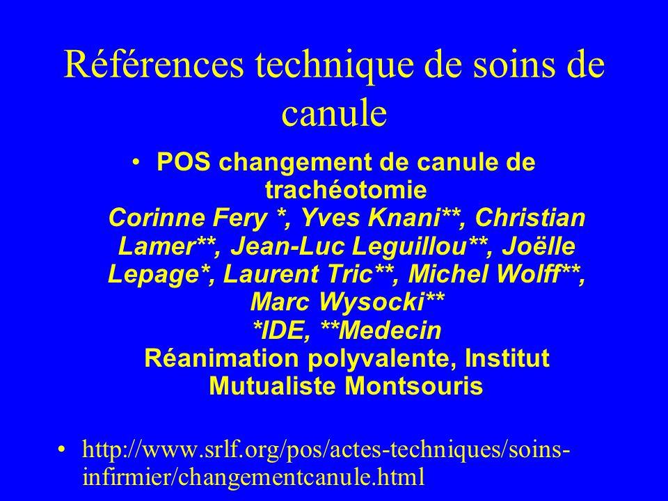 Références technique de soins de canule POS changement de canule de trachéotomie Corinne Fery *, Yves Knani**, Christian Lamer**, Jean-Luc Leguillou**