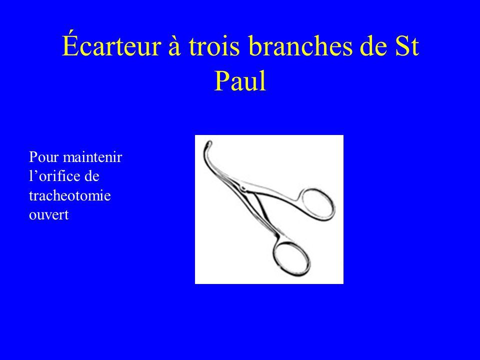 Écarteur à trois branches de St Paul Pour maintenir lorifice de tracheotomie ouvert