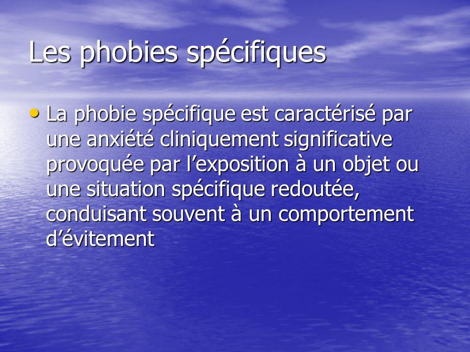 Les phobies spécifiques La phobie spécifique est caractérisé par une anxiété cliniquement significative provoquée par lexposition à un objet ou une si