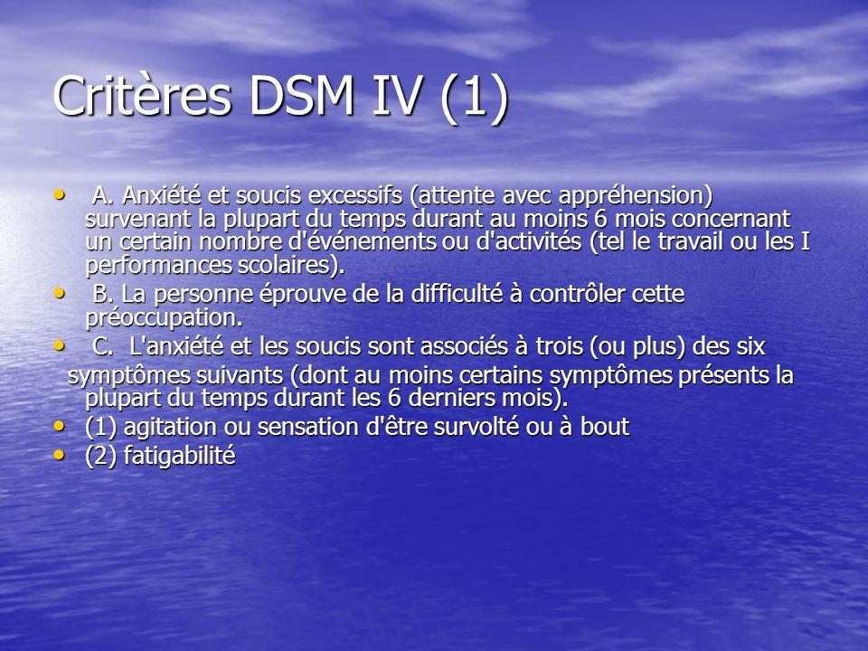 Critères DSM IV (2) (3) difficultés de concentration ou trous de mémoire (3) difficultés de concentration ou trous de mémoire (4) irritabilité (4) irritabilité (5) tension musculaire (5) tension musculaire (6) perturbation du sommeil (difficultés d endormissement ou sommeil interrompu ou sommeil agité et non satisfaisant).
