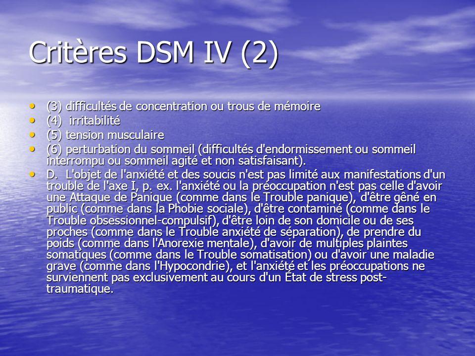 Critères DSM IV (2) (3) difficultés de concentration ou trous de mémoire (3) difficultés de concentration ou trous de mémoire (4) irritabilité (4) irr