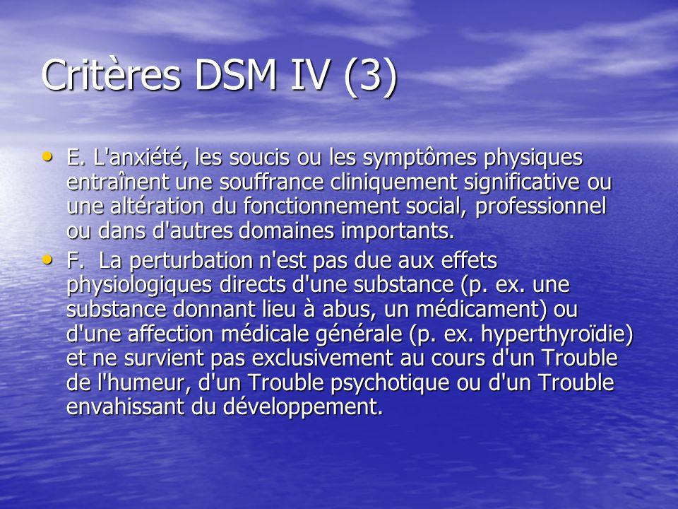 Critères DSM IV (3) E. L'anxiété, les soucis ou les symptômes physiques entraînent une souffrance cliniquement significative ou une altération du fonc