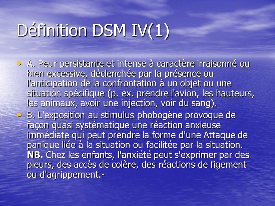 Définition DSM IV(1) A. Peur persistante et intense à caractère irraisonné ou bien excessive, déclenchée par la présence ou l'anticipation de la conf