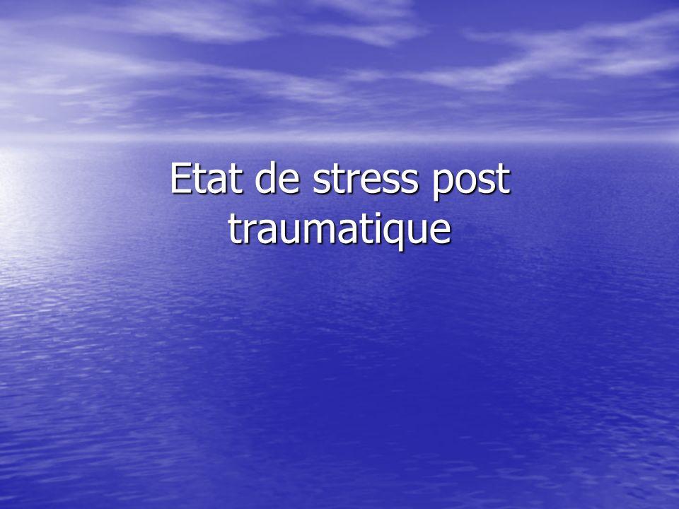 Définition LESPT est caractérisé par la reviviscence dun évènement extrêmement traumatique, accompagné de symptômes dactivation neuro végétative et par lévitement des stimuli associés au traumatisme LESPT est caractérisé par la reviviscence dun évènement extrêmement traumatique, accompagné de symptômes dactivation neuro végétative et par lévitement des stimuli associés au traumatisme