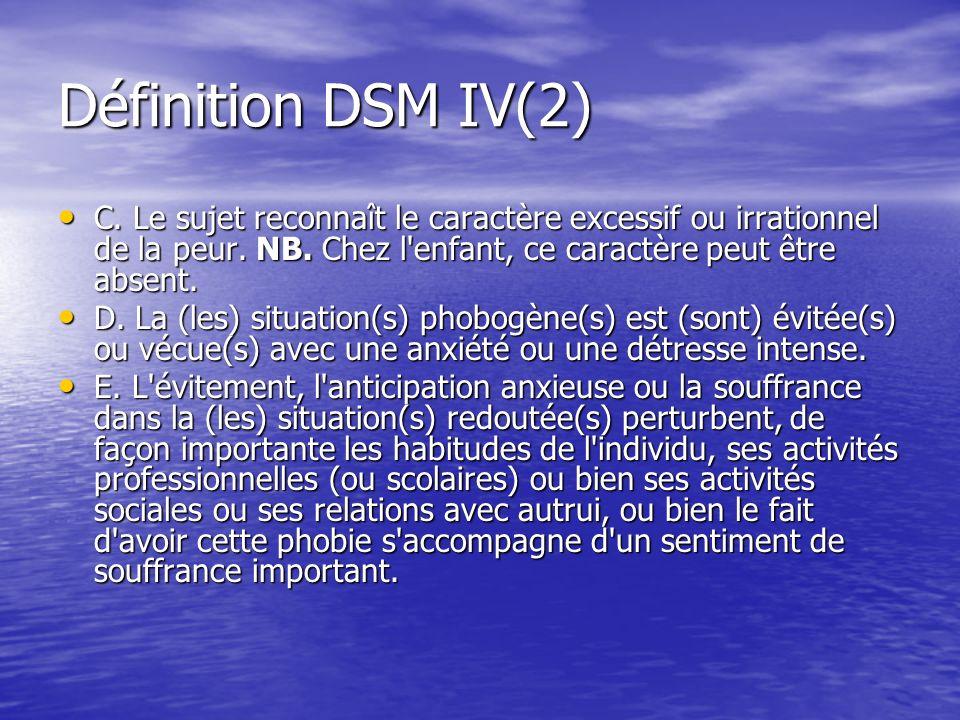 Définition DSM IV(2) C. Le sujet reconnaît le caractère excessif ou irrationnel de la peur. NB. Chez l'enfant, ce caractère peut être absent. C. Le su