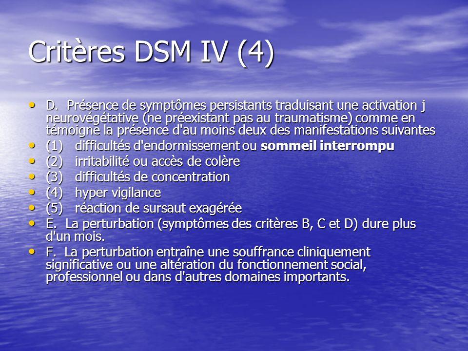Critères DSM IV (4) D. Présence de symptômes persistants traduisant une activation j neurovégétative (ne préexistant pas au traumatisme) comme en témo