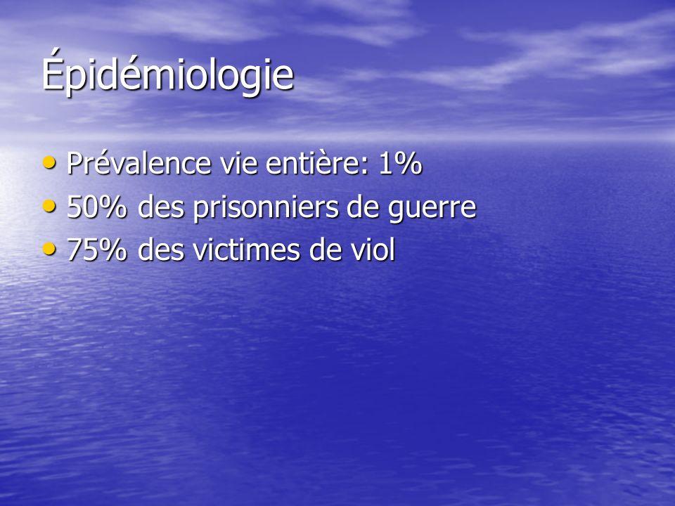 Épidémiologie Prévalence vie entière: 1% Prévalence vie entière: 1% 50% des prisonniers de guerre 50% des prisonniers de guerre 75% des victimes de vi