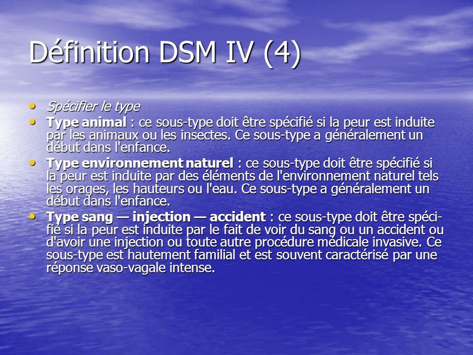 Définition DSM IV (5) Type situationnel : ce sous-type doit être spécifié si la peur est induite par une situation spécifique comme les transports publics, les tunnels, les ponts, les ascenseurs, les voyages aériens, le fait de conduire une voiture ou les endroits clos.