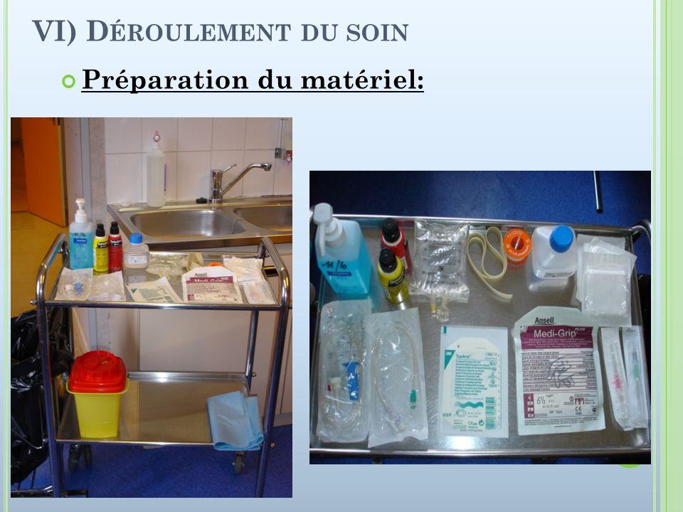 VI) D ÉROULEMENT DU SOIN Préparation du matériel: