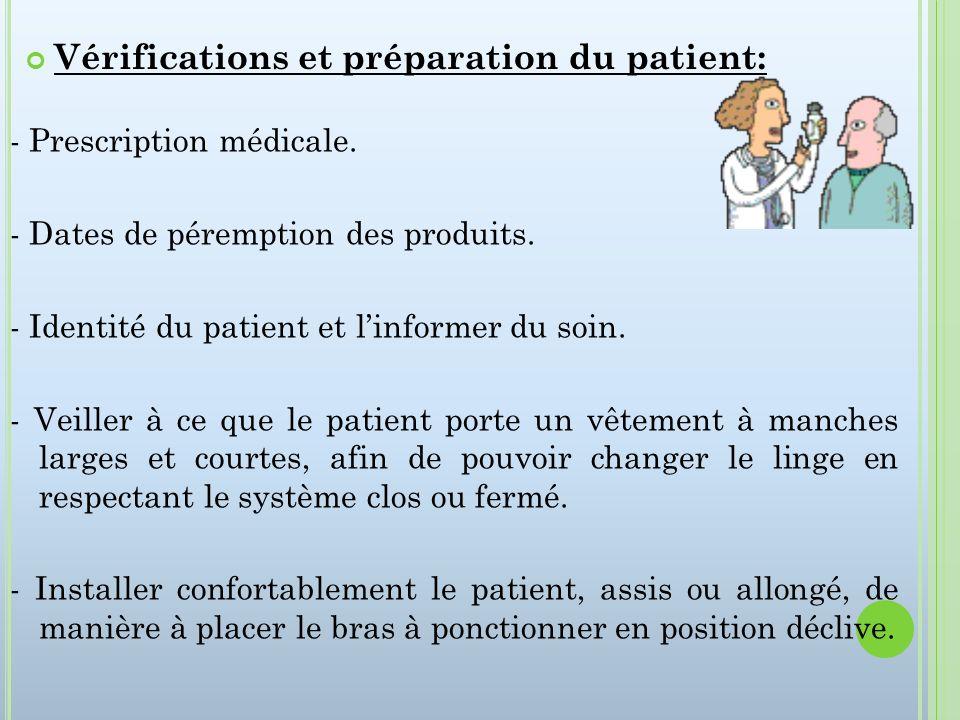 - Prescription médicale. - Dates de péremption des produits. - Identité du patient et linformer du soin. - Veiller à ce que le patient porte un vêteme