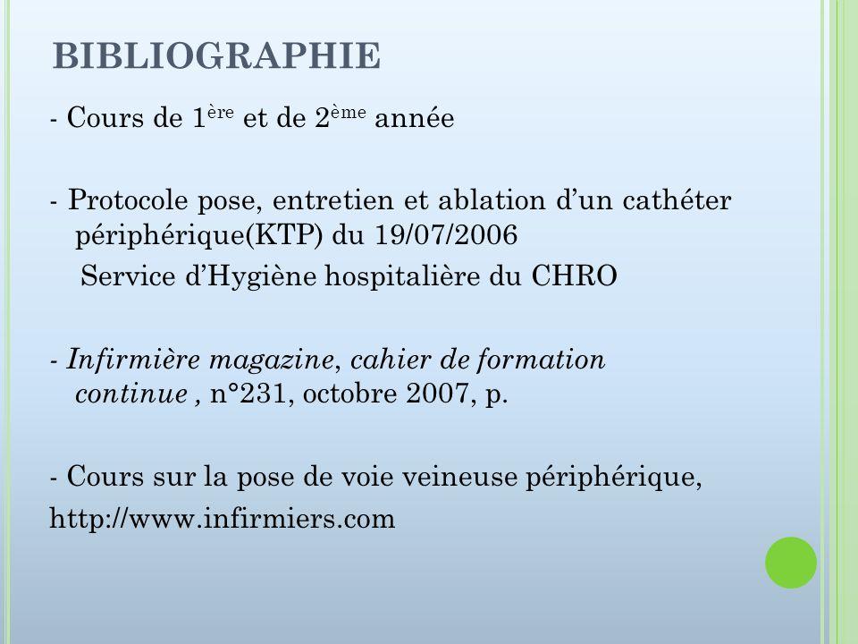 BIBLIOGRAPHIE - Cours de 1 ère et de 2 ème année - Protocole pose, entretien et ablation dun cathéter périphérique(KTP) du 19/07/2006 Service dHygiène