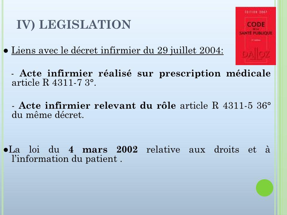 IV) LEGISLATION Liens avec le décret infirmier du 29 juillet 2004: - Acte infirmier réalisé sur prescription médicale article R 4311-7 3°. - Acte infi