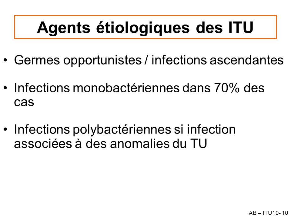 AB – ITU10- 10 Agents étiologiques des ITU Germes opportunistes / infections ascendantes Infections monobactériennes dans 70% des cas Infections polyb